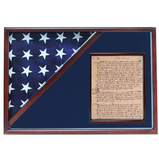 View a Larger Image of Memorial Flag and Doc Case, Cherry, Blue Velvet background