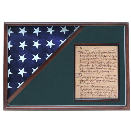 View a Larger Image of Memorial Flag and Doc Case, Walnut, Army Green background