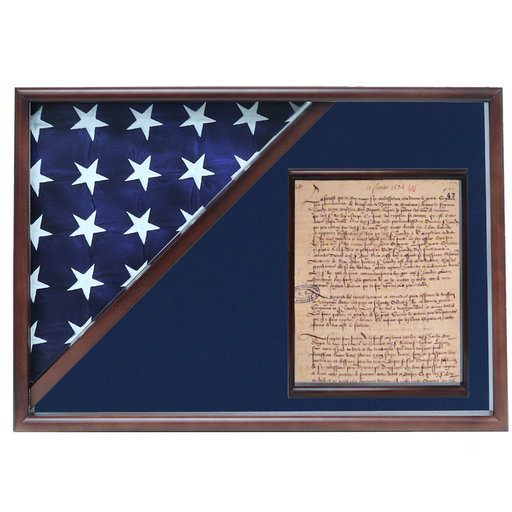View a Larger Image of Memorial Flag and Doc Case, Walnut, Blue Velvet background