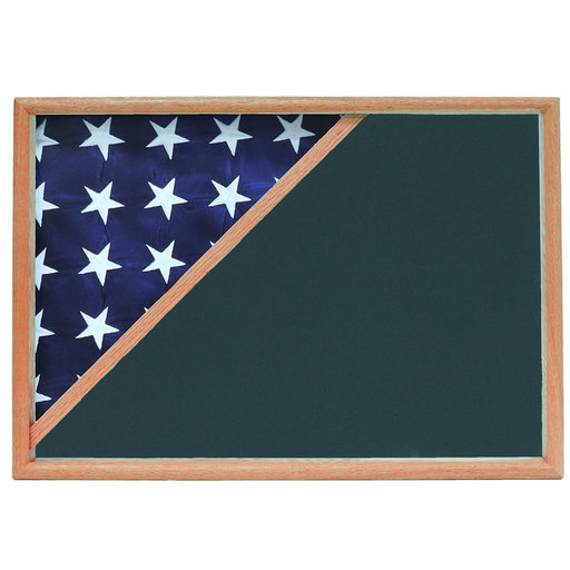 View a Larger Image of Memorial Flag Case, Oak, Army Green background