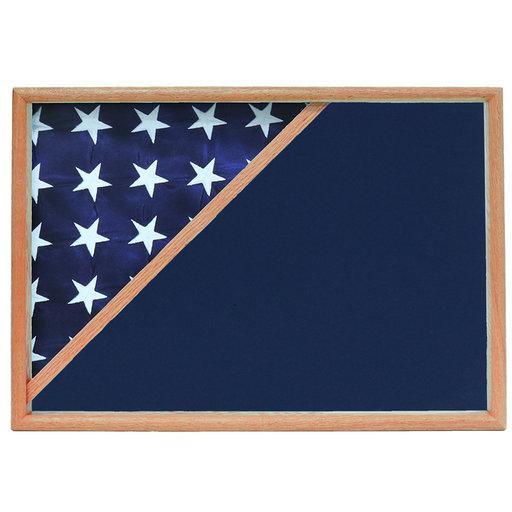 View a Larger Image of Memorial Flag Case, Oak, Blue Velvet background