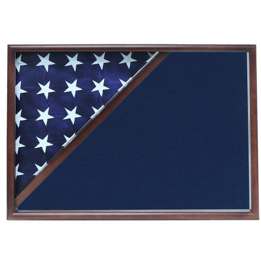 View a Larger Image of Memorial Flag Case, Walnut, Blue Velvet background