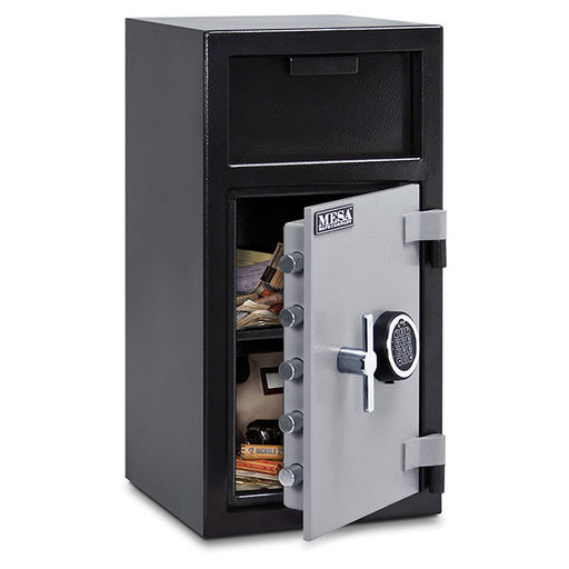 View a Larger Image of Mesa Depository Safe with Electronic Lock, 1.4 cu. ft., Black and Gray, Model MFL2714E