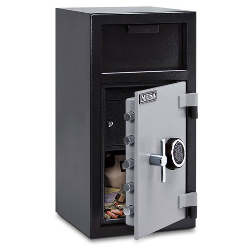 View a Larger Image of Mesa Depository Safe with Interior Locker and Electronic Lock, 1.3 cu. ft., Black and Gray, Model MFL2714E-ILK