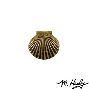 Bay Scallop Door Bell Ringer, Polished Brass and Brown Patina