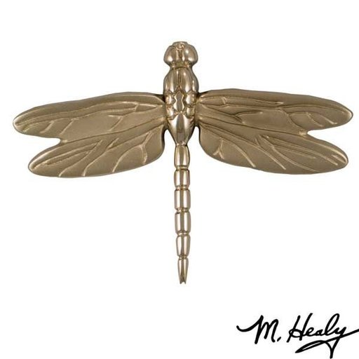 View a Larger Image of Dragonfly in Flight Door Knocker, Brushed and Polished Nickel Silver