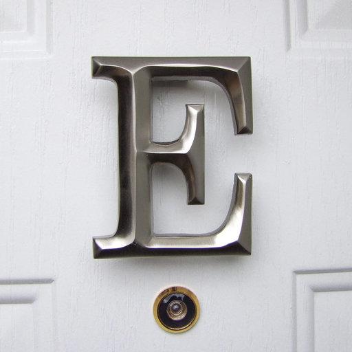 View a Larger Image of Letter E Monogram Door Knocker, Brushed Nickel