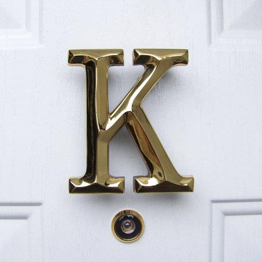View a Larger Image of Letter K Monogram Door Knocker, Polished Brass