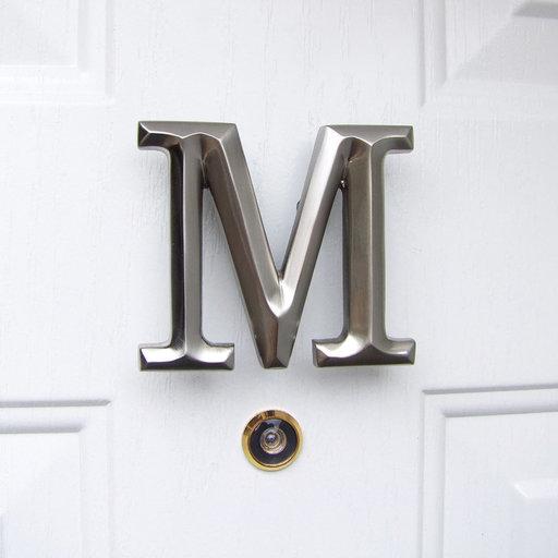 View a Larger Image of Letter M Monogram Door Knocker, Brushed Nickel