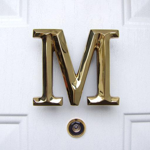 View a Larger Image of Letter M Monogram Door Knocker, Polished Brass