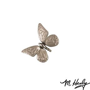 Monarch Butterfly Door Bell Ringer, Brushed and Polished Nickel Silver