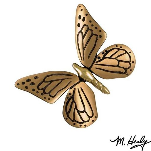 View a Larger Image of Monarch Butterfly Door Knocker, Polished Brass and Satin Bronze
