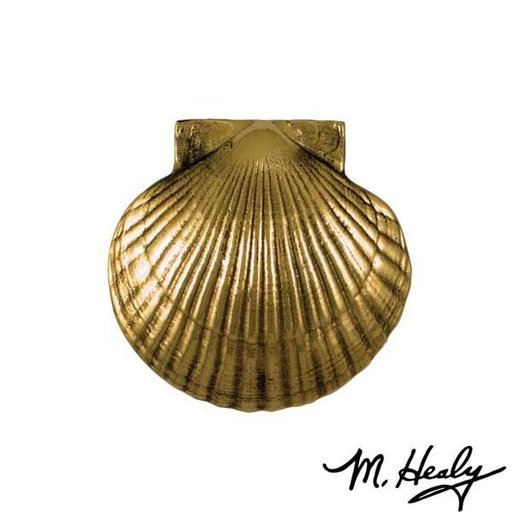 View a Larger Image of Sea Scallop Door Knocker, Polished Brass and Brown Patina