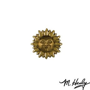 Smiling Sun Face Door Bell Ringer, Polished and Highlighted Brass