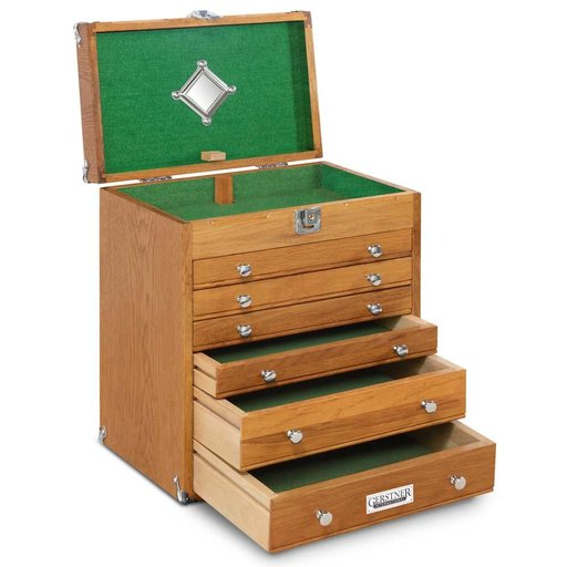 View a Larger Image of T-16 6 Drawer Mighty Portable Chest, Red Oak