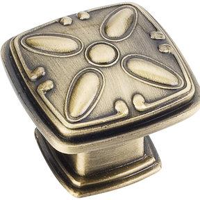 """Milan 2 Detailed Square Knob, 1-3/16"""" O.L.,, Brushed Antique Brass"""