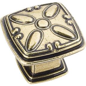 "Milan 2 Detailed Square Knob, 1-3/16"" O.L.,,  Distressed Antique Brass"