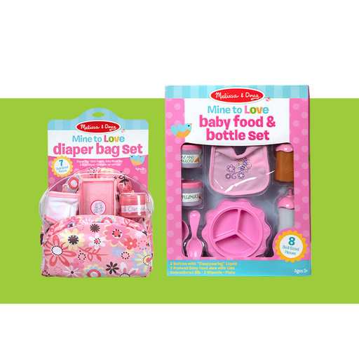View a Larger Image of Mine to Love Doll Feeding and Changing Accessories Set, Diaper Bag Set, Baby Food & Bottle Set, Promotes Pretend Play Sk