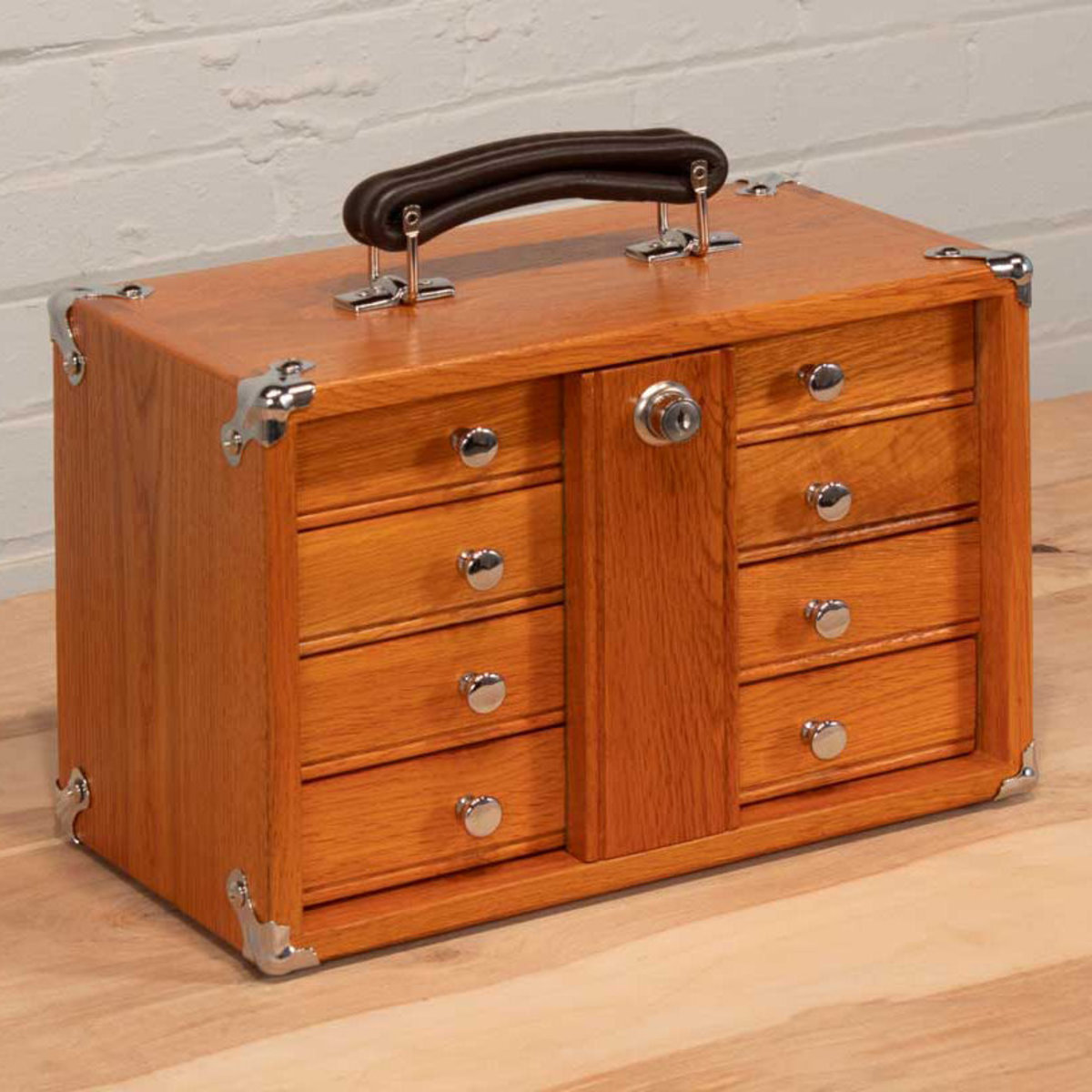 View a Larger Image of T-12 4-Drawer Mini Portable Chest, Red Oak