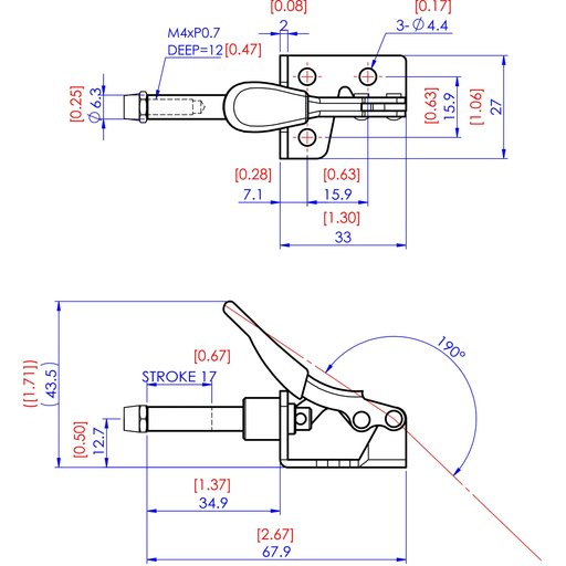 View a Larger Image of Mini Straight Line Toggle Clamp 1-3/8 x 1/2, 100lbs.