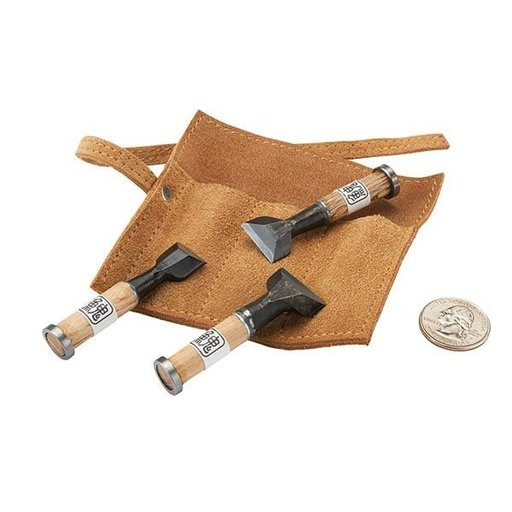 View a Larger Image of Miniature Japanese Chisels with Leather Wrap 3-piece