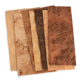 """Burl Wood Veneer - 4-1/2"""" to 7-1/2"""" Width - Mixed Variety - 3 Square Foot Pack"""