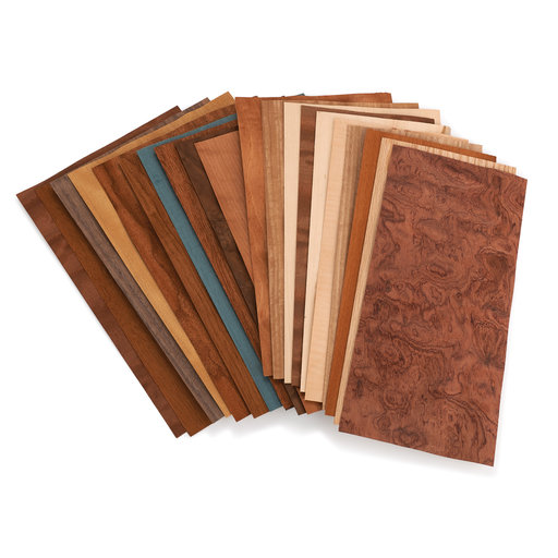 """View a Larger Image of Domestic and Exotic Wood Veneer - 5-1/2"""" to 7-1/2"""" Width - Mixed Variety- 10 Square Foot  Pack"""
