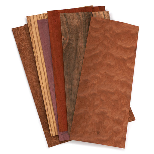"""View a Larger Image of Exotic Wood Veneer - 4-1/2"""" to 7-1/2"""" - Mixed Variety - 3 Square Foot Pack"""