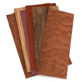 "Exotic Wood Veneer - 4-1/2"" to 7-1/2"" - Mixed Variety - 3 Square Foot Pack"