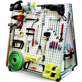 Mobile Tool Cart with LocBoard Steel Square Hole Peg Board