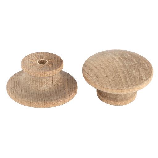 "View a Larger Image of Mushroom Knob Birch 1-1/2"" D 15/16"" Tall w/screws 2 pc"