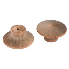 "Mushroom Knob w/Screws - Birch - 2"" Diameter - 1"" Tall - 2 Piece"