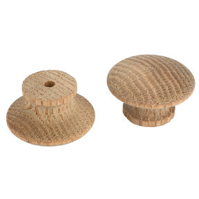 """Mushroom Knob w/Screws - Oak - 1-3/4"""" Diameter - 7/8"""" Tall - 2Piece"""