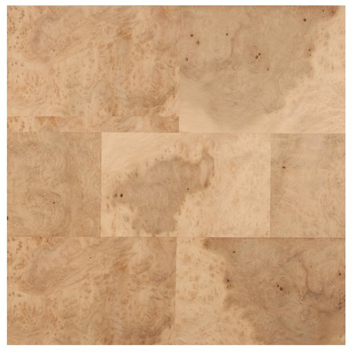 """View a Larger Image of Myrtle Burl 24"""" x 24"""" 2ply Wood on Wood Patchwork Wood Veneer"""