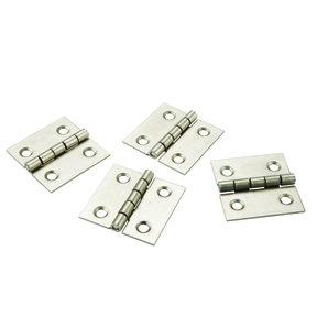 "Miniature Narrow Satin Nickel Hinge 1"" L x 1"" Open with Screws 2 Pair"