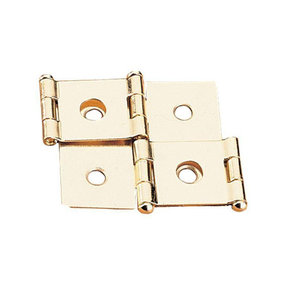 """Non-mortise Hinge Polished Brass Plated fits 3/4"""" Panels Pair"""