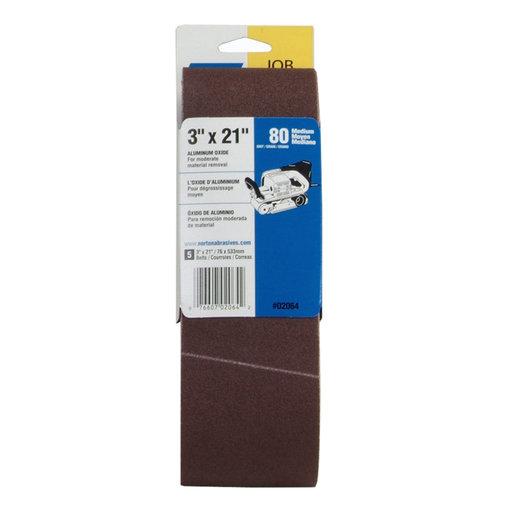 "View a Larger Image of 3"" x 21"" Aluminum Oxide Sanding Belt 80 Grit 5 pk"