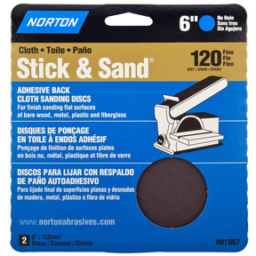 "6"" PSA Cloth Sanding Disc - 120 Grit - 2 Pack"