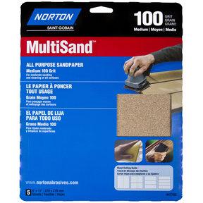 "9"" x 11"" All Purpose Sandpaper 100 Grit - 5 Pack"