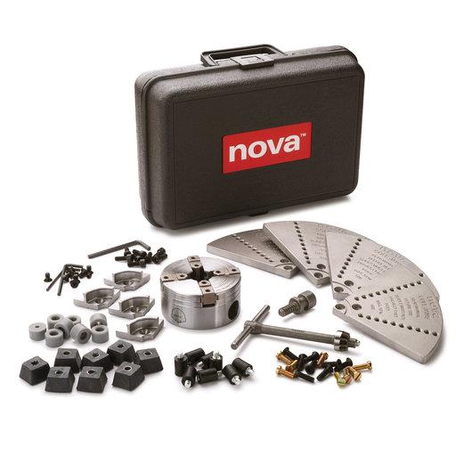 "View a Larger Image of Nova G3 Direct Thread 1"" x 8 TPI Chuck Bundle w/Mini Cole Jaws & Buffer Accessory Kit"
