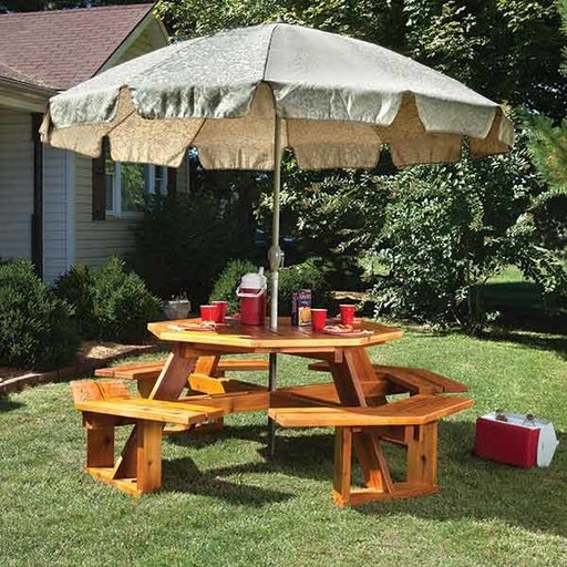View a Larger Image of Octagonal Picnic Table w/Lazy Susan - Paper Plan