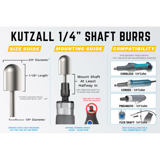 "View a Larger Image of Original Cylinder Burr, 1/8"" Shaft, Coarse (1/4"" x 1/2"")"