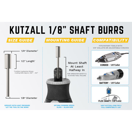 """View a Larger Image of Original Cylinder Burr, 1/8"""" Shaft, Fine (1/4"""" x 1/2"""")"""