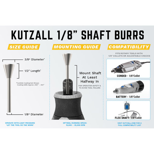 "View a Larger Image of Original Flame Burr, 1/8"" Shaft, Fine (1/4"" x 1/2"")"