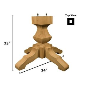 Red Oak Transitional Table Pedestal Base Kit, Model 1175O