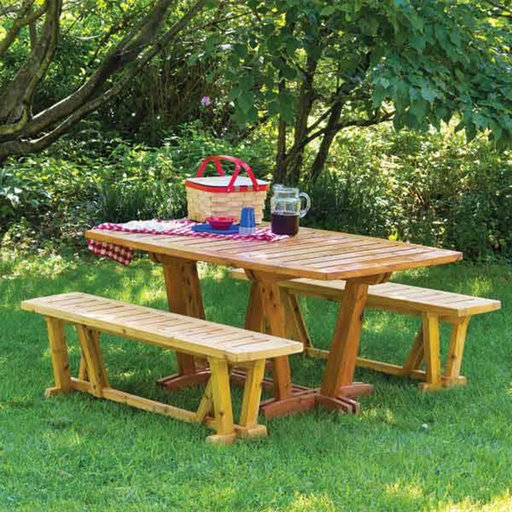 View a Larger Image of Outdoor Table & Benches - Paper Plan