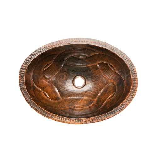 View a Larger Image of Oval Braid Under Counter Hammered Copper Sink