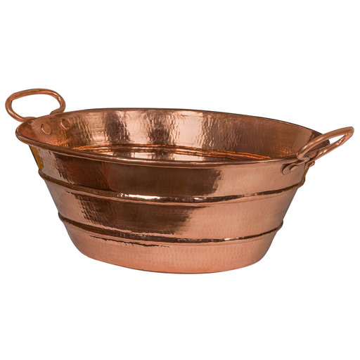 View a Larger Image of Oval Bucket Vessel Hammered Copper Sink with Handles in Polished Copper