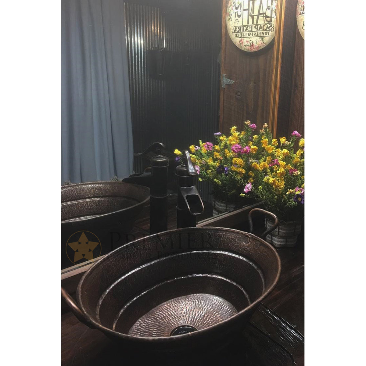 View a Larger Image of Oval Bucket Vessel Hammered Copper Sink with Handles