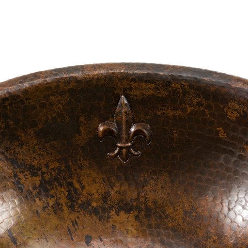 View a Larger Image of Oval Fleur De Lis Self Rimming Hammered Copper Sink